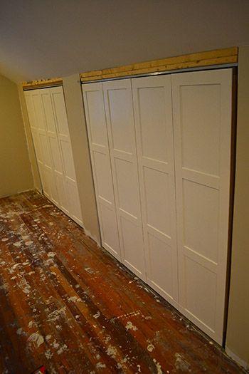 DIY board and batten on undereave closet doors  Barn