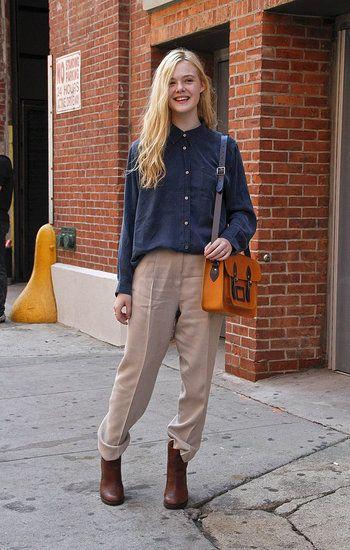 elle fanning wearing a cambridge satchel company bag (favourite!)