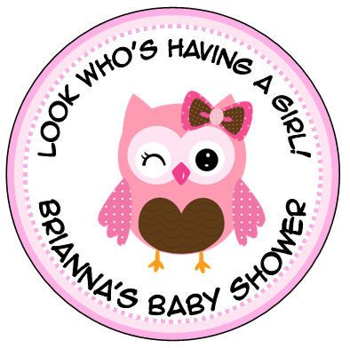 Personalized 25 OR 2 Round pink baby owl by lovelypapercreations, $4.25