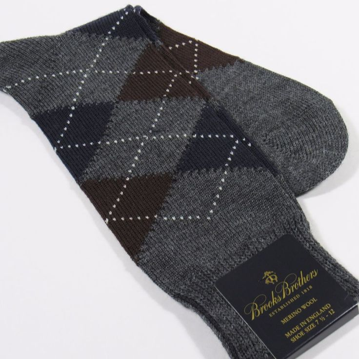 BROOKS BROTHERS Men's Argyle Dress Socks Merino Wool England CHARCOAL GRAY NWT #BrooksBrothers #Dress