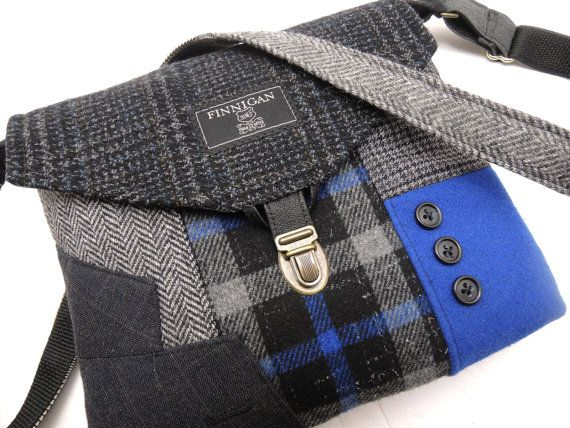Recycled Purse, Crossbody Purse iPhone pocket, Recycled mens suit coat , Royal Black Plaid wool, Eco Friendly - SewMuchStyle