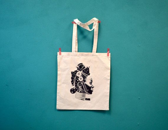 Tote printed with womans head illustration from door constarlation, €10.95