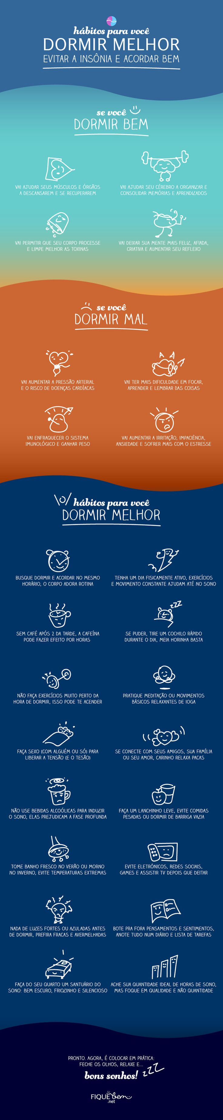 [Infográfico] Hábitos para você dormir melhor, combater a insônia e acordar bem :( FIQUE bem :)