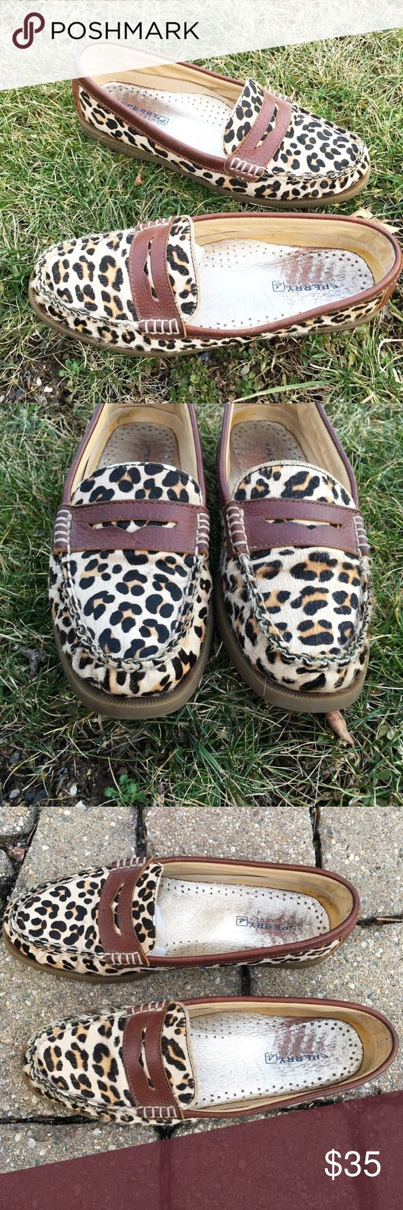 Sperry topsider in leapord print calf hair Soft calf hair sperry topsiders. Only main wear is seen on inside soles. Sperry Top-Sider Shoes Flats & Loafers