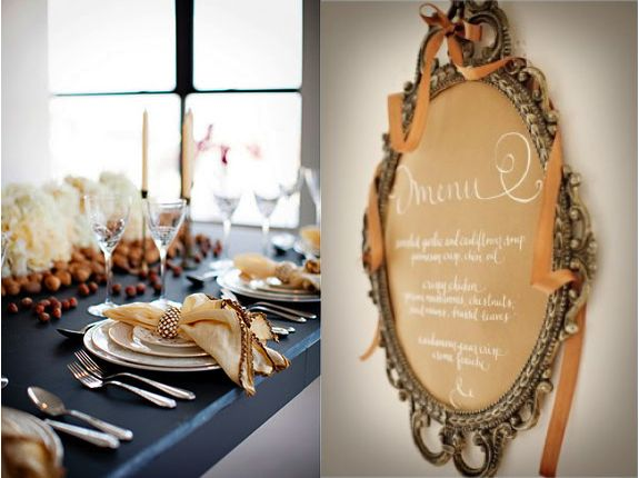 Pretty Thanksgiving Menu board and tablescape