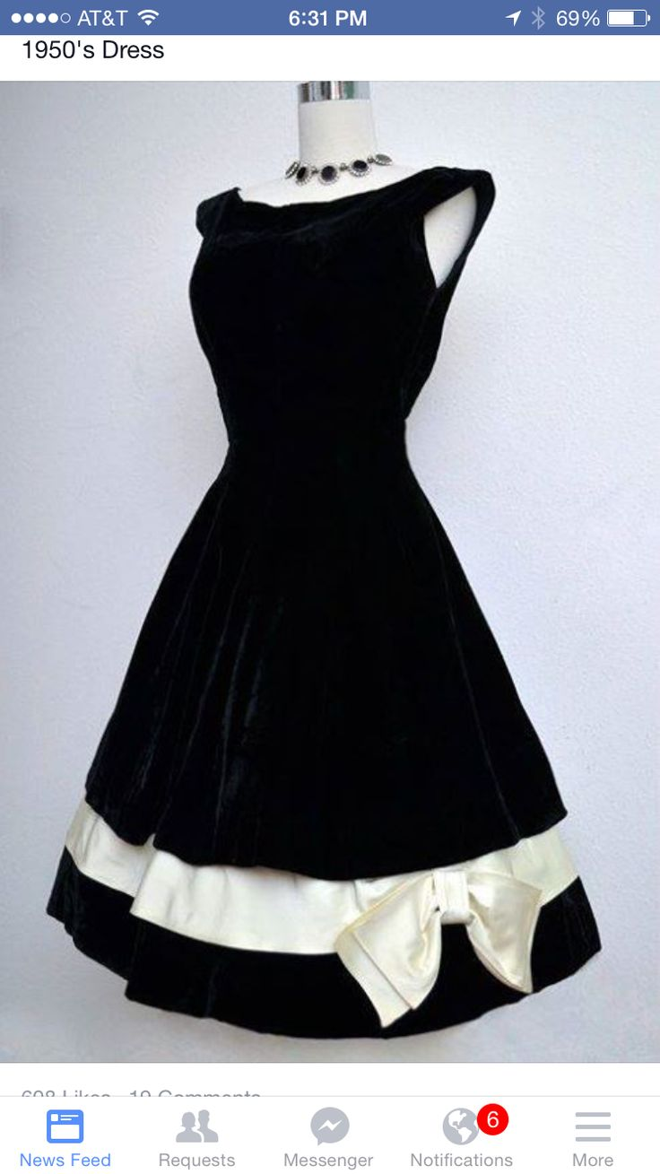 1950s black dress with ivory bow  ... Style inspired