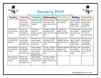 12 month Calendar with activities listed for Parents to try at home with their child. Each month teachers can send home the calendar to give parents ideas on things they can do to build family time and help build education at home. These activities are just ideas, but help parents who might need that extra boost.