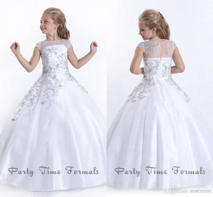 Wholesale Girl's Pageant Dresses - Buy White 2014 Flower Girl Dresses Jewel Sweep-train Glitz Girl's Pageant Dress with Cap Sleeves Beaded Long Formal Kids Prom Gown Soft Tulle, $105.0 | DHgate