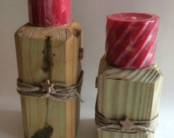 Wall hanging drift wood pillar candle by ShopSweetlySalvaged