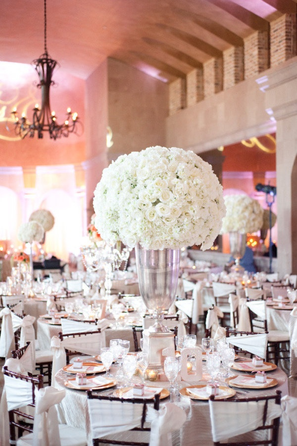 Love the linens on the chairs...: Floral Centerpieces, White Flowers, Tables Sets, Floral Design, Belle Towers, Receptions Ideas, Tables Numbers, Wedding Reception, Center Pieces