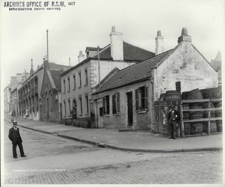 Harrington St,The Rocks of Sydney in 1901,looking south from Argyle St. •State Archives of NSW•