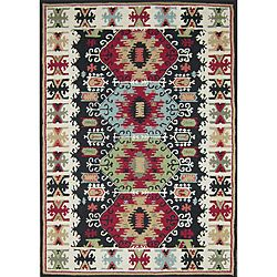 Create a Southwestern style in any room of your home with this beautiful Aztec wool area rug. Constructed of hand-tufted wool, this rectangular rug is soft and strong. Featuring a pile height over one