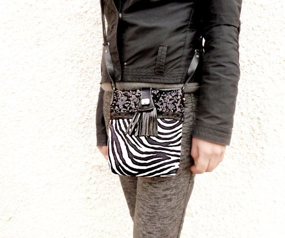 Black and white purse small crossbody bag zebra by Glad2Balive