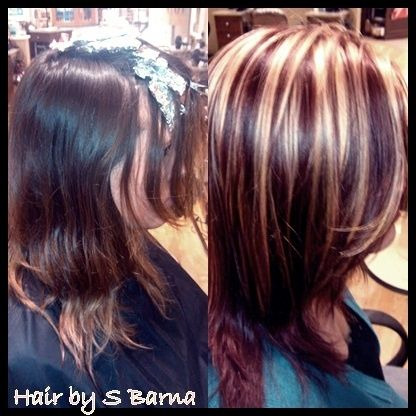 Hair by barna..after is bright blonde highlights with high def red violet all over.   (LOVE the color) by divachic31