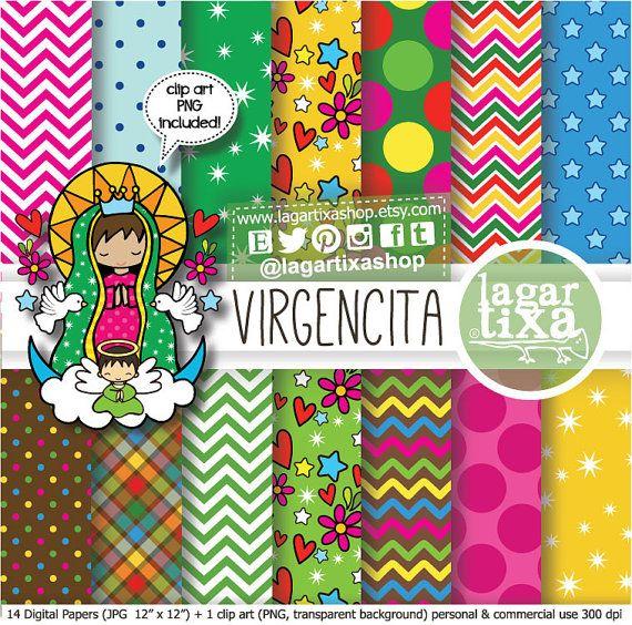 Papel Digital Dibujo Virgencita Bautizo o Primera Comunion Virgen María niña decoracion