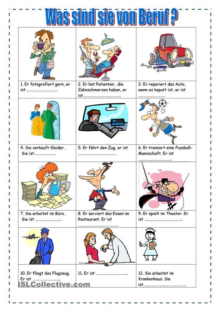 Arbeitsblätter Thema Berufe : Besten berufe bilder auf pinterest deutsch lernen