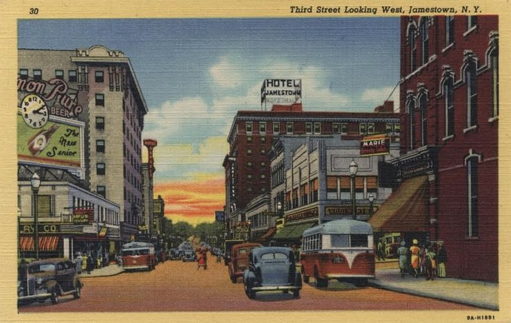 vintage new york images | Postcard - Vintage - Jamestown Hotel - Third Street Looking Street