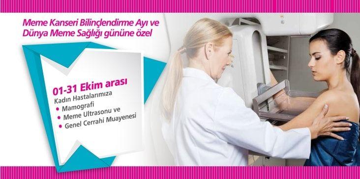 Meme kanseri bilinçlendirme ayına özel sağlık paketi  Detaylı bilgi için; 444 0 212