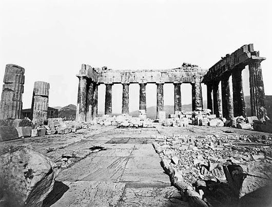 We are indebted to the unknown photographer who captured the interior of the renowned Parthenon (ca. 1850's).