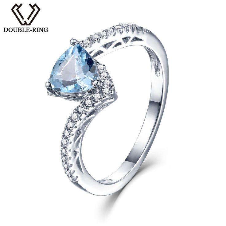 DOUBLE-R 925 Sterling Silver Ring Female 1.0ct Natural Blue Topaz Gemstone engagement wedding rings Fine Jewelry For Women