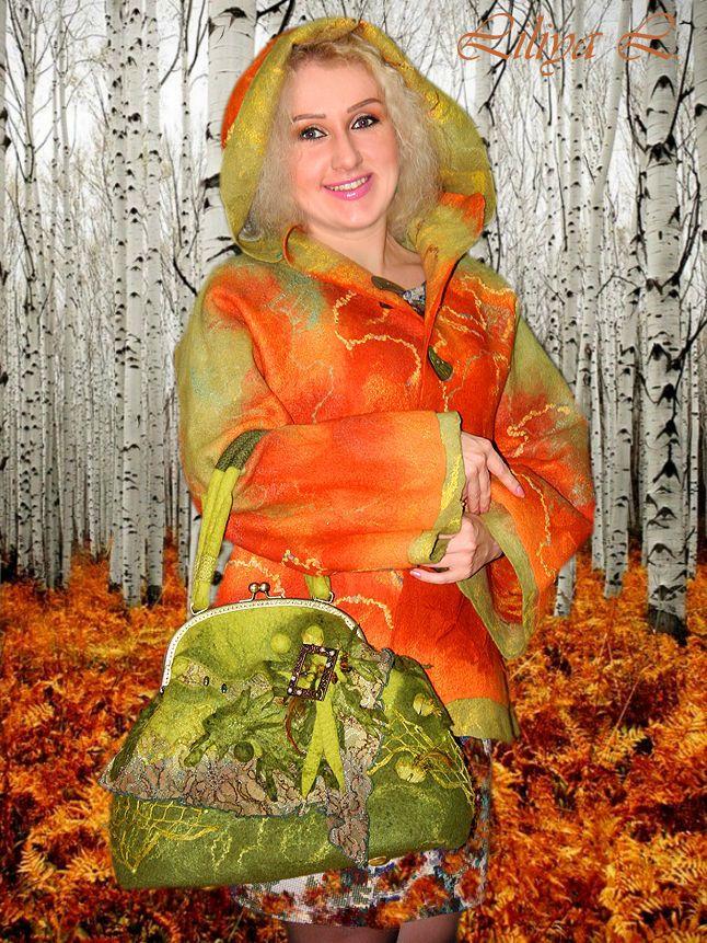 """Купить Куртка """"Осень"""" - рыжий, в клеточку, куртка, осенняя куртка, куртка валяная, куртка из шерсти"""