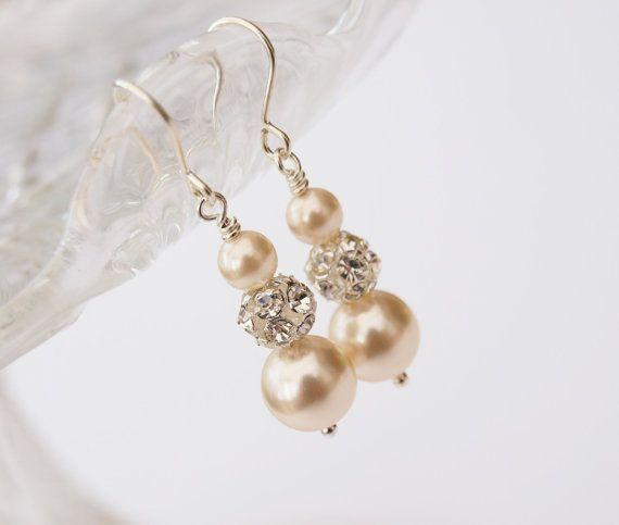 Ella+Pearl+Earrings+Ivory+Pearls+Drop+Earings+by+jewellerymadebyme,+£25.00