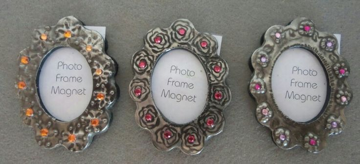 Small fridge Magnet picture frame with pewter art