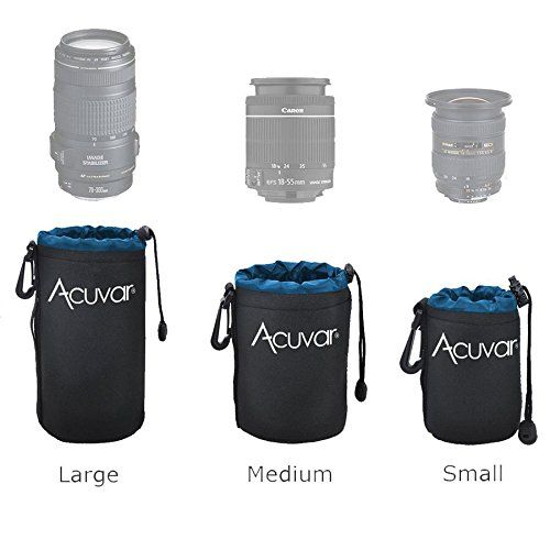 Acuvar Neoprene Blue and Black Soft DSLR Lens Pouch Case Kit For Canon Nikon Sony Pentax Olympus Panasonic Camera Lenses 3 Pouches S M L * Find out more at the image link.