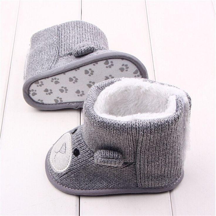 Invierno bebé botas de nieve calientes del niño del bebé de la muchacha historieta del oso de punto primer caminante infantil zapatos de bebé recién nacido calzado en Primeros Pasos de Bebés en AliExpress.com | Alibaba Group