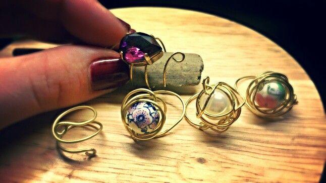 Handmade wired rings