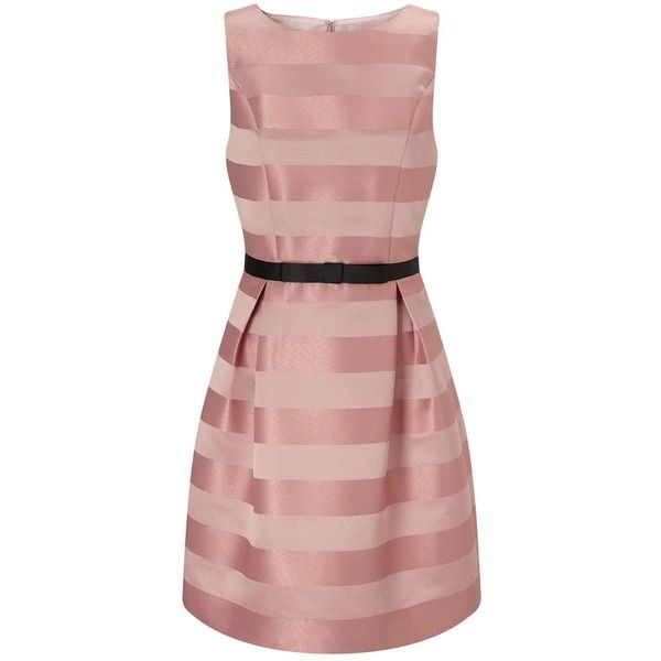 Miss Selfridge Pink Stripe Prom Dress ($49) ❤ liked on Polyvore featuring dresses, pink, fit and flare prom dresses, striped fit and flare dress, pink prom dresses, fit and flare dress and pink striped dress