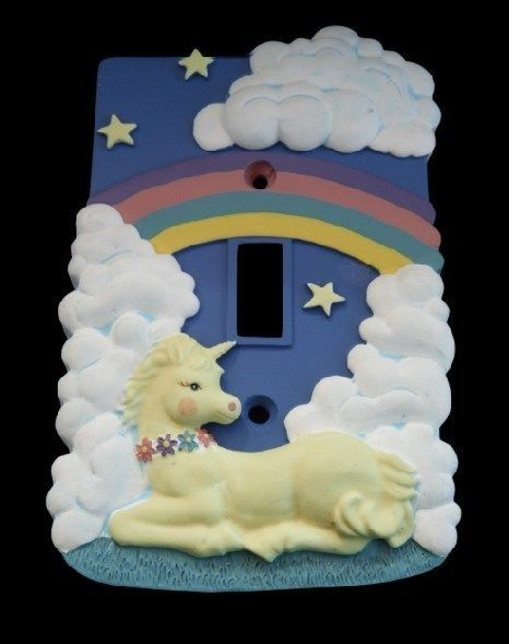 GLOW IN DARK LIGHT SWITCH WALL DECOR PLATE COVER UNICORN CHILD & CHILDREN ROOM #unicorn #glowinthedark #lightswitchcover #dreams