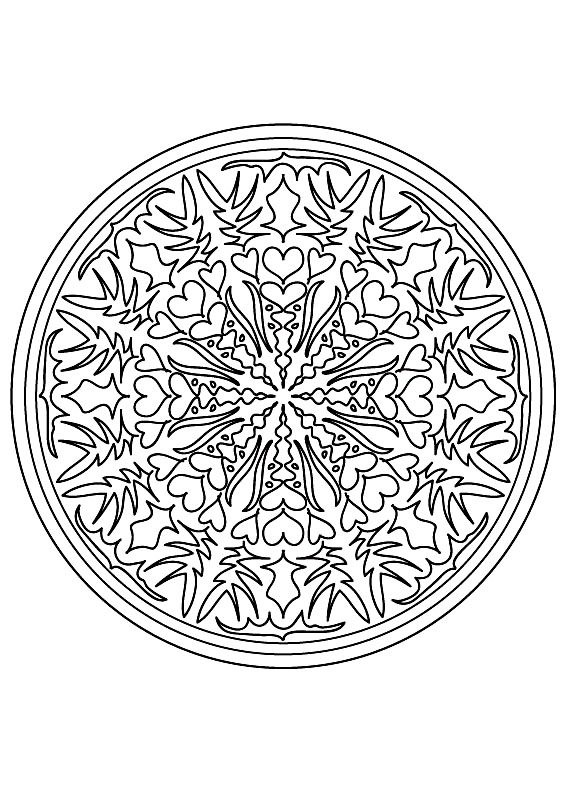 Free coloring page coloring-mandala-difficult-9. Hearts or flowers? Decide for yourself by choosing the right colors and the good grades ...