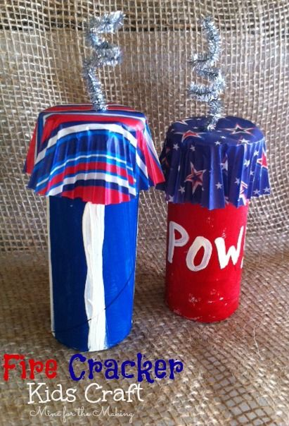 Fire Cracker Kids Craft using recycled TP rolls. Perfect for the 4th of July! At Mine for the Making