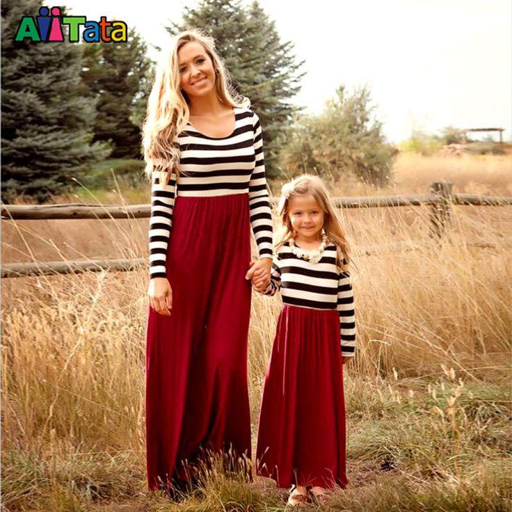 Nouveau 2017 manches mère fille dresse Famille Correspondant vêtements Rayé Maman et fille robe Famille look tenues dans Famille Des Vêtements Assortis de Mère et Enfants sur AliExpress.com | Alibaba Group