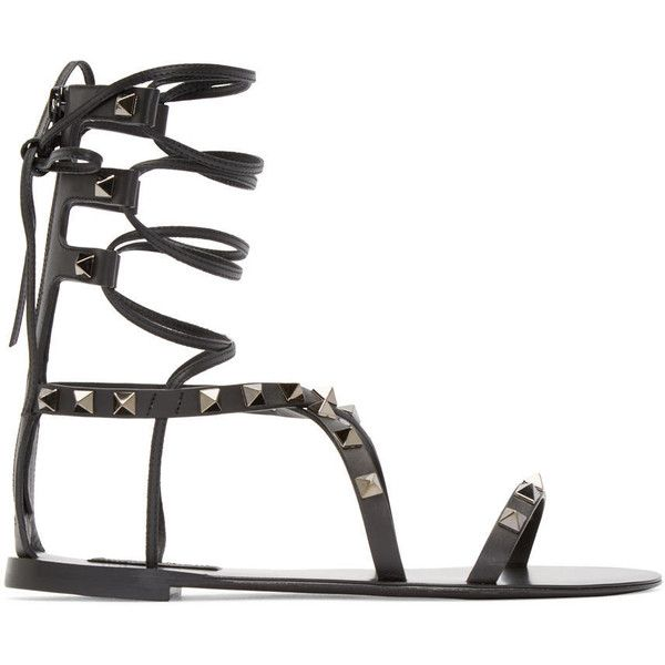Valentino Black Gladiator Rockstud Sandals (598,400 KRW) ❤ liked on Polyvore featuring shoes, sandals, black lace up sandals, zipper gladiator sandals, gladiator shoes, laced up gladiator sandals and lace up sandals