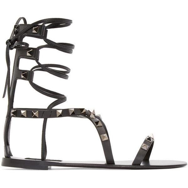 Valentino Black Gladiator Rockstud Sandals (598,400 KRW) ❤ liked on Polyvore featuring shoes, sandals, black lace up sandals, zipper gladiator sandals, gladiator shoes, laced up gladiator sandals and lace up sandals