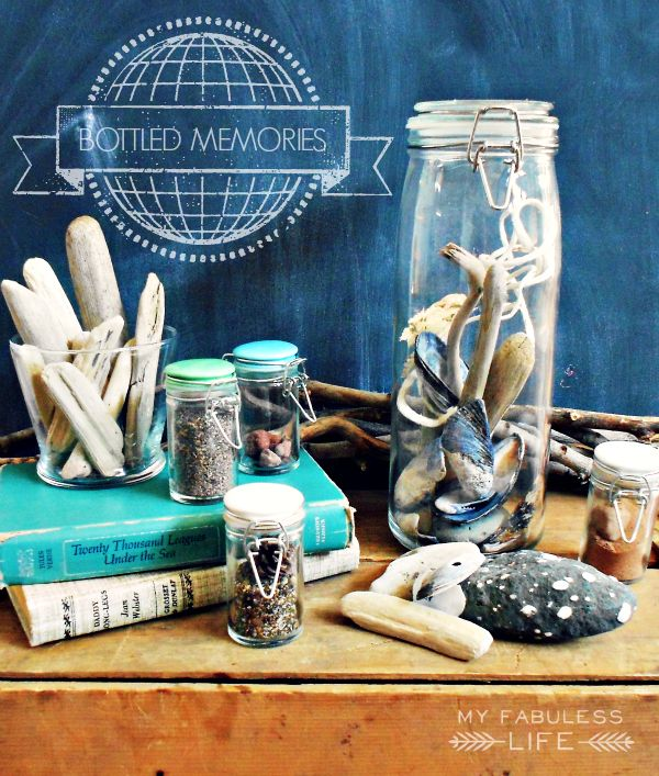 Collect sand and treasures from all of the places your family visits for a beautiful and meaningful display.