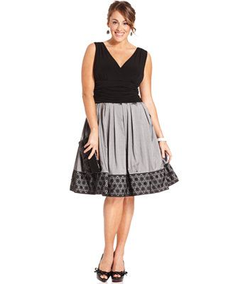 I really like this dress. The design seems like it would be flattering on my body and the little detail on the skirt rounds out a formalish look for a minimalist dresser. SL Fashions Plus Size Dress, Sleeveless A-Line Ruched