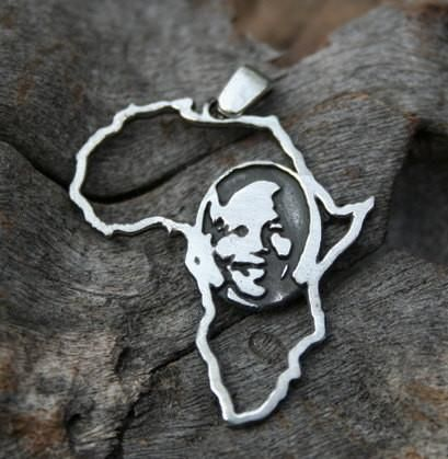 Nelson Mandela Map of Africa outline Sterling Silver Pendant, 30mm