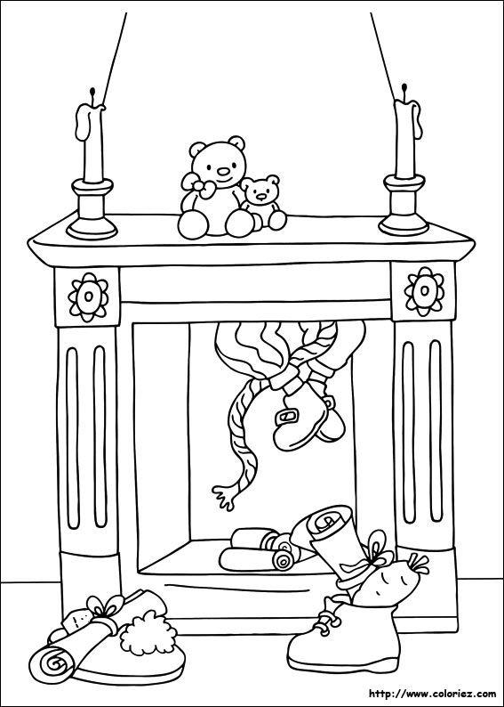 Coloriage d'un lutin dans la cheminée