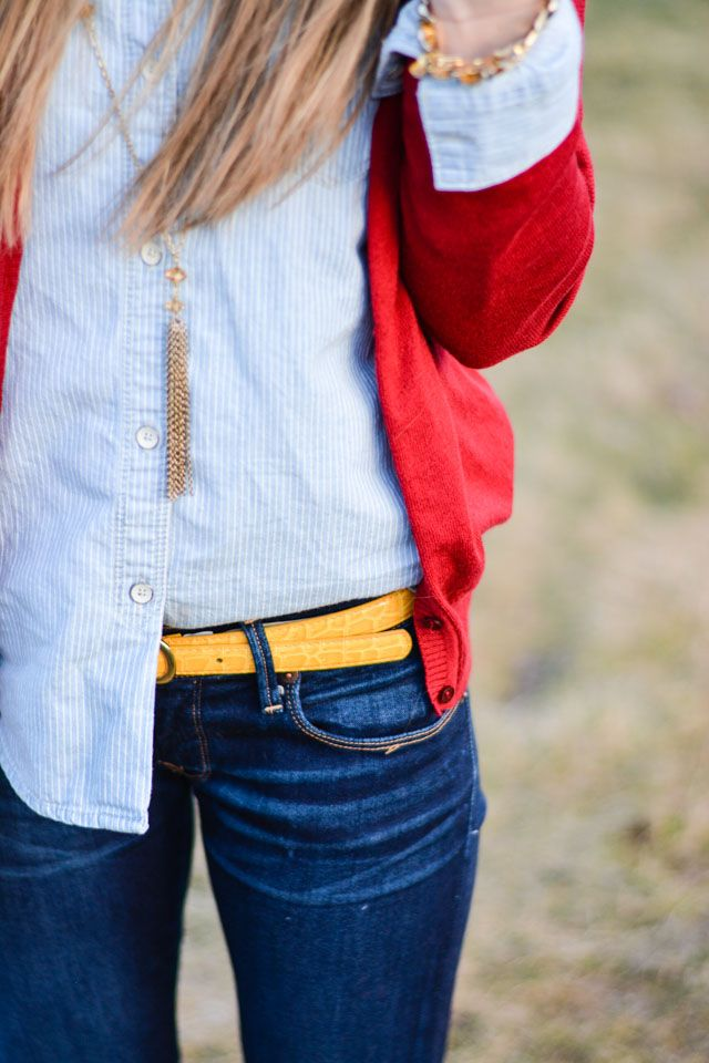 Red cardigan over chambray + white stripe button down