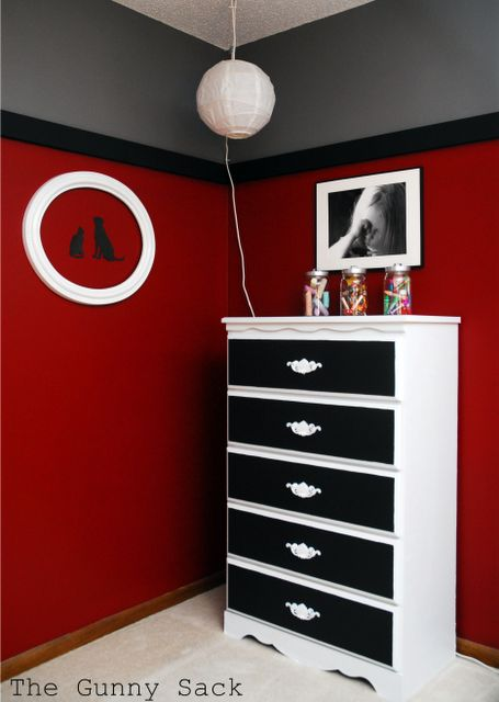 Son wants Black and Red bedroom. thinking of doing grey on bottom, black in the middle and red on top...