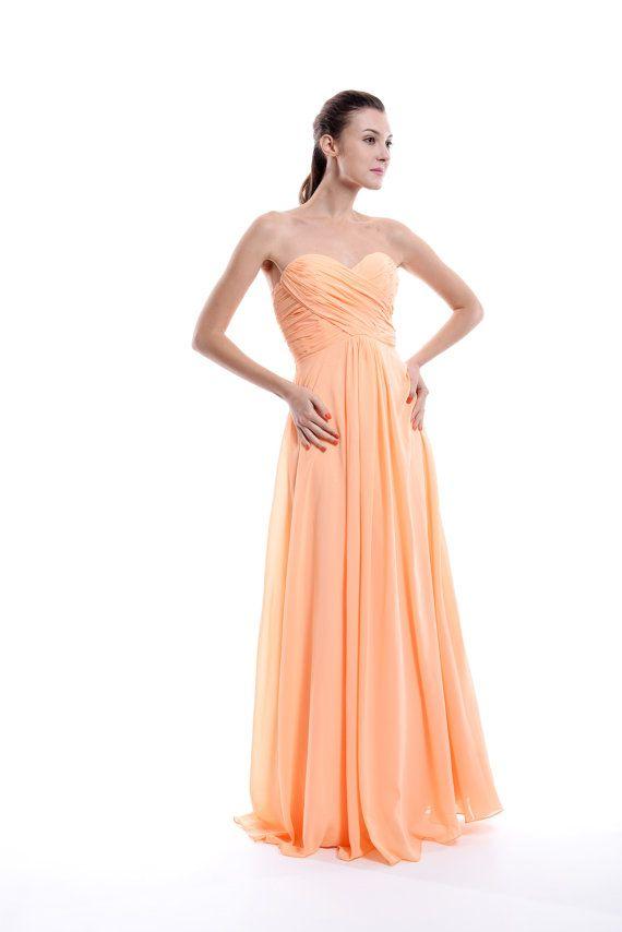 Peach Bridesmaid Dress Empire Sweetheart Long by harsuccthing