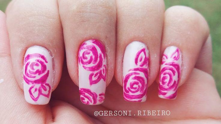 Unhas Decoradas Com Rosas (Fácil de Fazer) - Nail Art With Roses | #Gers...