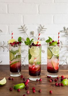 Spiced Hibiscus Cranberry Mojitos http://www.pineappleandcoconut.com