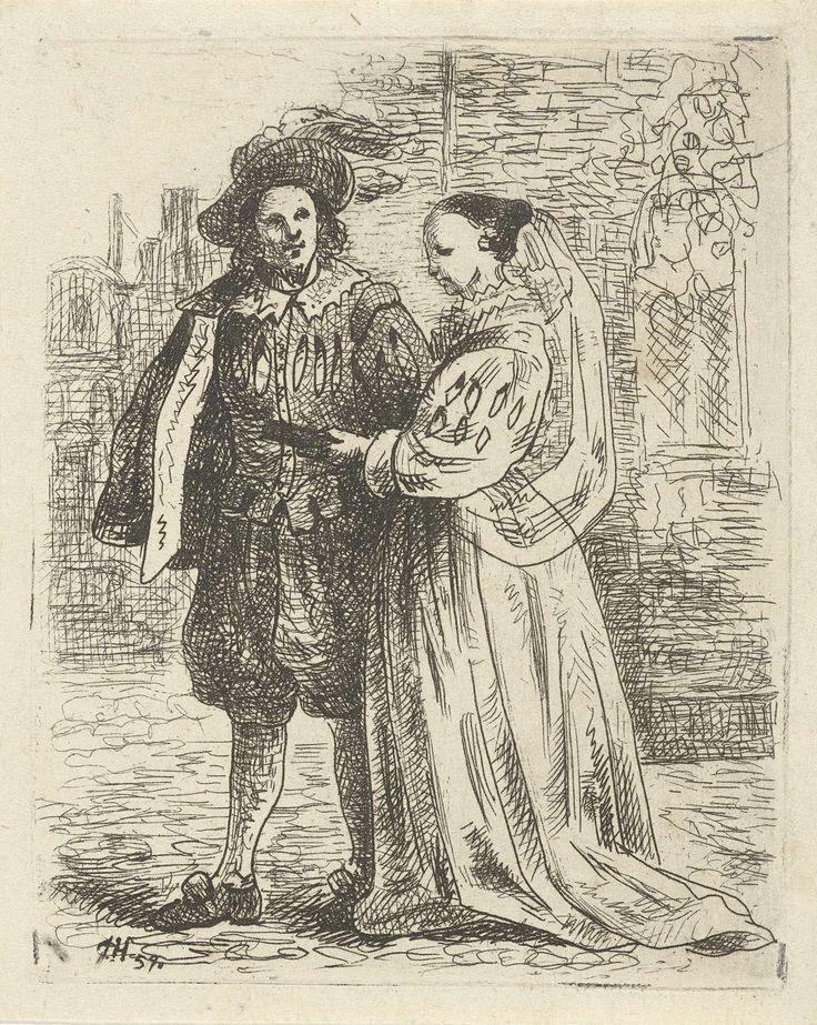 Josef Hoevenaar | Paar in zeventiende eeuws kostuum, Josef Hoevenaar, 1857 |