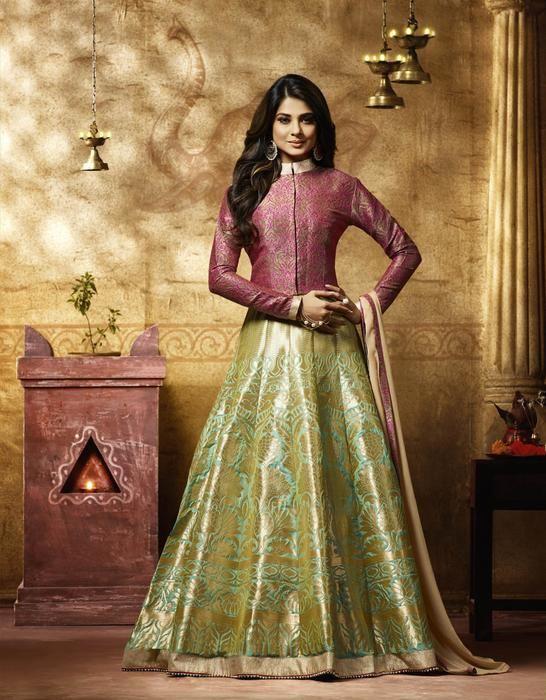 Jennifer Winget Golden Green Banarasi Silk Salwar Kameez with Pink Jacket - Salwar Kameez - online shopping at Variation.In