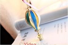5 pz moda colorata enaml hot air balloon pendente di cristallo lunga collana a catena 260954(China (Mainland))