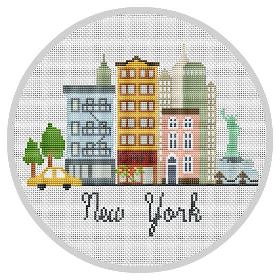 Modern Cross Stitch Pattern New York Modern City pattern Travel Cross stitch…